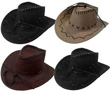 WHOLESALE LOT 12 PCS Cowboy Fedora Felt Bucket Western Hat with Chin Cord