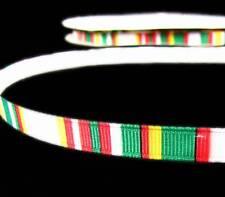 """5 Yds Christmas Red White Green Grosgrain Ribbon 3/8""""W"""