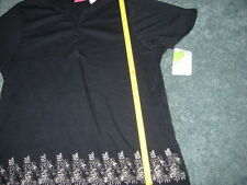 CAPPAGALLO BLACK TOP WITH FLORAL SCROLL LIKE DESIGN SIZE XL- XLARGE NEW