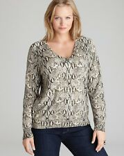 NWT $140 MICHAEL Michael Kors Plus V-Neck Snakeskin Print Sweater CREAM, Size 1X