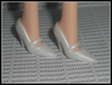 SHOES BARBIE MATTEL DOLL CRYSTAL JUBILEE WHITE MARY JANE HIGH HEEL SHOES