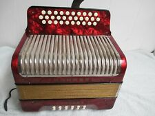 Hohner Button Accordion Corona II  With Gig Bag, Straps, Pearl Red