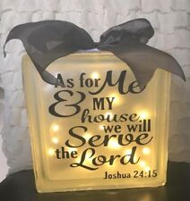 LED Glass Light Block Lamp As For Me And My House We Will Serve The Lord Bible