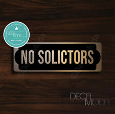 No Solicitors Sign, Brushed Copper Finish No Solicitors Door Sign, 9 x 3 inches