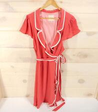ModCloth Womens Plus Sz 3X Wrap Dress Carnation Ruffles Daytime Dapper Coral