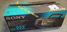 New Open Box Sony BoomBox CFD-222 CD AM FM Radio Dual Cassette Boom Box