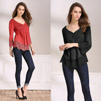 Fashion Women Tops Shirt S-5XL Blouse Floral Bell Crochet Lace Loose 3/4 Sleeve