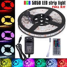 5050 RGB Led Strip Lights Waterproof 5M 300Led +Remote Controller +12V Power Kit