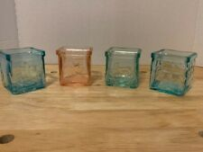 Handmade Recycled Glass Set of 3 Blue and 1 Peach/Coral Cube Votives from Italy