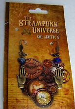 Steampunk Dangling Hand/Palm With Crystal Bead Pierced Earrings Handcrafted USA