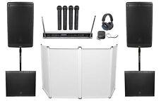 "2) JBL EON615 15"" 2000w Bluetooth DJ PA Speakers+2) Subs+Facade+Mics+Headphones"