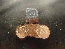 New listing Metal Lover- (4)- 1 Ounce Copper Rounds & 1 - 3 Oz. Aluminum Cube - 5 Pc Total