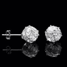 2.5CT Cluster Ball Created Diamond Earrings 14K Solid White Gold Studs Round Cut