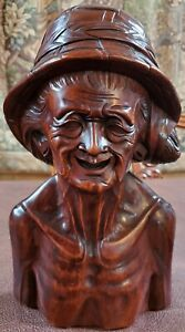 HARD WOOD CARVED SCULPTURED BUST OF AN OLD ASIAN MAN:  AMAZING DETAIL!