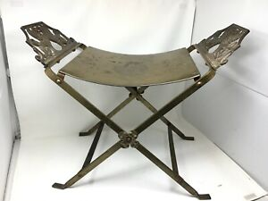 Antique Savonarola Italian Regency Empire Griffin Chair Bench Curules Oscar Bach