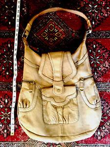 Lucky Penny Anthropology Light Brown Leather Large Shoulder Bag Purse Pockets