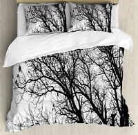 Nature Duvet Cover Set with Pillow Shams Autumn Fall Tree Branch Print