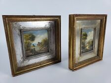 Lot Of 2 Original Oil Paintings Van Thoren signed Landscape Lady Buildings
