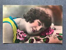 Lady Art Deco Glamour Flapper Fashion Original Vintage Postcard