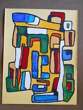 Tableau Cubiste Abstrait sur papier 50 cm x 65cm - Le Marché