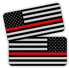 (2) Firefighter EMT American Flag Stickers | Helmet Hard Hat Flag Decals Labels