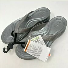 Crocs Women's Size 10 Capri Metallic Texture Wedge Flip Flop Silver NWT