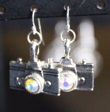 925 sterling silver earrings Camera Pendant Rhinestone Photographer Pewter
