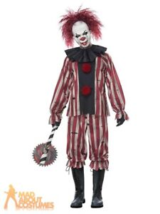 Adult Mens Nightmare Clown Costume Scary Circus Halloween Fancy Dress Outfit