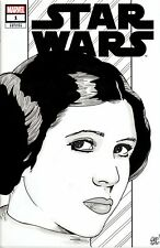 Star Wars #1 Blank Variant with beautiful original Princess Leia painted sketch