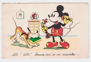Mickey Mouse Talking Candlestick Phone Postcard  Sepheriades Paris France 1930s