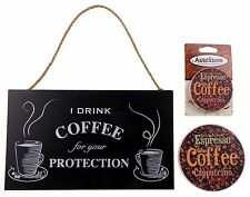 Kitchen Drink Coffee Protection Sign Home Auto Stone Coffee Coaster Gift Set 3