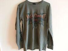 Harley Davidson long sleeve green T shirt, flames on sleeves - mens small