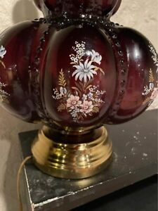 "PURPLE Plum  26"" FENTON MELON LAMP Hollywood Regency MCM Falkenstein Table Vtg"