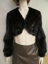 Fendi brown genuine mink fur cropped jacket shrug bolero sz S M 6 8 40 42 Italy