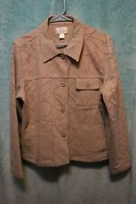 ⚜Woman's Stretch Denim Jacket by Christopher & Banks size L~tan?/ red distressed