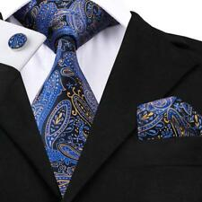USA Blue Silk Mens Tie Paisley Necktie Set Jacquard Woven Luxury Necktie Wedding