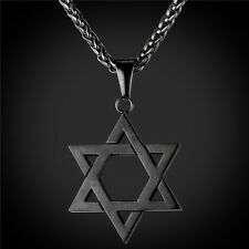 Star of David Pendant Necklace Chain christian Israel Jewish Black Gun Pow