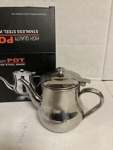 New Stainless Steel Tea Coffee Pot  Flip Lid Handle 18oz