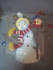 FLAT SHEET METAL STAMPED SNOWMAN AND CARDINALS ORNAMENTS BY KURT ALDERS