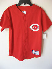 NEW Youth Cincinnati Reds Jersey M Red Mesh Button Front Majestic MLB Team