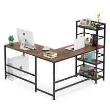 Rustic L-Shaped Desk with Bookshelves for Home Office Writing Study Workstation