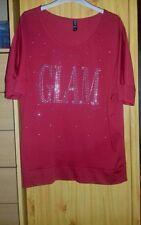 "jolie tee-shirt Kiabi ""glam"" rouge taille XL  (44/46)"