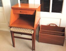 Fabulous Retro 1970s 'Chippy' Telephone Table/Integral Seat plus Magazine Rack