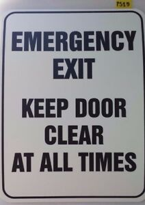 KEEP DOOR CLEAR AT ALL TIMES SIGN - EMERGENCY EXIT POLYPROPYLENE 300 x 225mmm