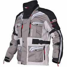 Tuzo Enduro Mens Motorcycle Textile Jacket Grey Black Large