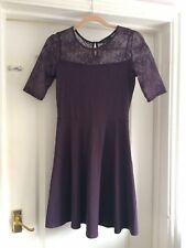 Dorothy Perkins Size 10 Purple Jersey Floral Lace Skater Dress
