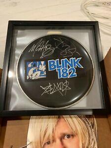 "SIGNED blink-182 10"" drum head w/ sticker (Hoppus, Delonge, Barker)"