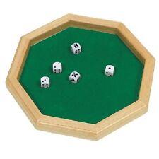 Octagon dado piastra di legno e feltro con 5 DADI Goki divertente per bambini gioco tradizionale