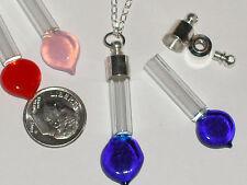 1 Glass Blue HEART bottle vials pendant w/ SCREW CAP *~