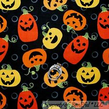 BonEful Fabric Cotton Quilt Black Orange Green Leaf Pumpkin Halloween Dot SCRAP